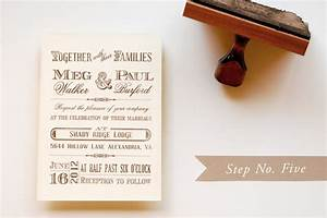 diy rubber stamp vintage western wedding save the dates With wedding invitations using stamps