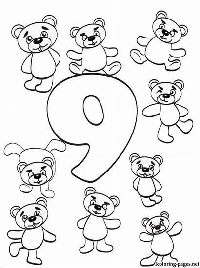 Coloring Number Pages Nine Numbers Printable Preschoolers