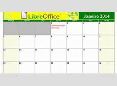 Calendário LibreOffice 2014, com Feriados Nacionais