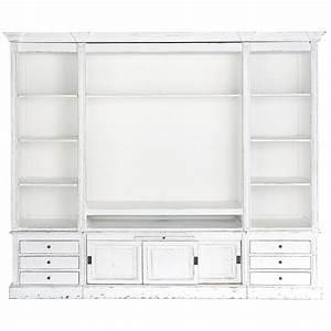 bibliotheque meuble tv en bois massif ivoire l 264 cm With maison du monde meuble tv 0 meuble bibliothaque tv ivoire passy maisons du monde