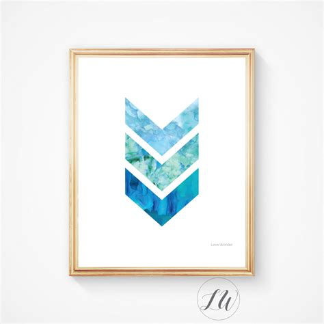 chevron print blue printable bathroom decor blue