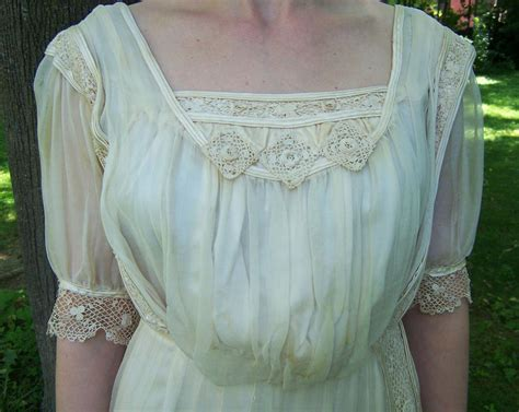 Antique Silk And Irish Lace Gibson Girl Wedding Dress For