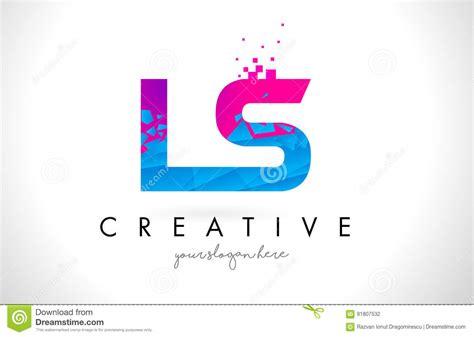 Ls L S Letter Logo With Shattered Broken Blue Pink Texture