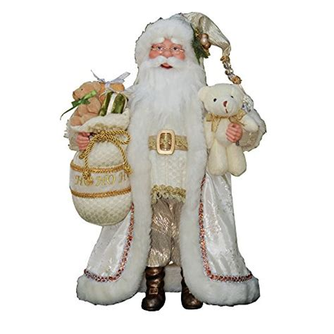16 inch standing white gold santa claus christmas figure