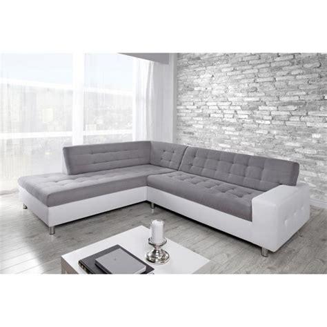 canape d angle blanc et gris java canapé d 39 angle gauche en simili et tissu 6 places