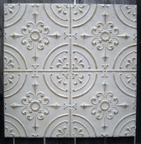 2'x2' Antique Ceiling Tin Tile Circa 1910 Offwhite