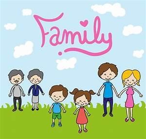 Cartoon family background vector graphics My Free