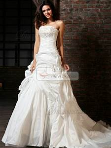 a line taffeta tube top chapel train sequin wedding With tube top wedding dress