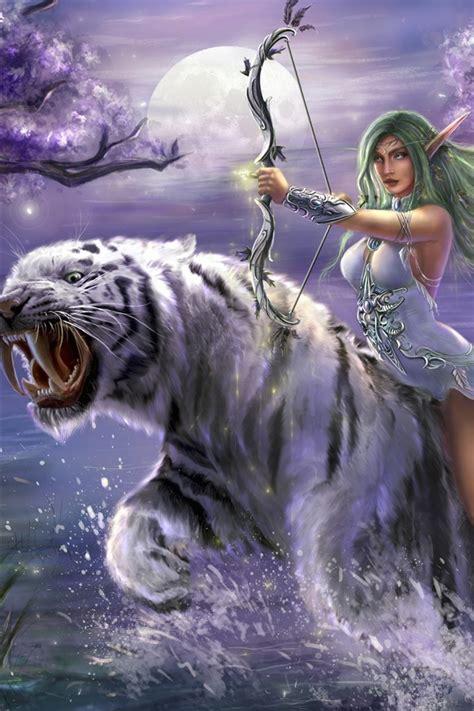 fantasy maedchen gruenes haar elf bogen weisser tiger