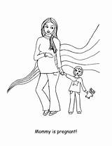 Coloring Pregnancy Pregnant Looks Happy Preview Tales sketch template