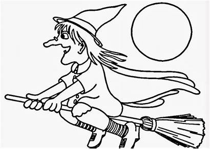 Coloring Pages Flying Witch Witches Halloween Template