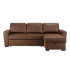 canape d39angle convertible 3 4 places en suedine marron With tapis jonc de mer avec canape d angles cuir