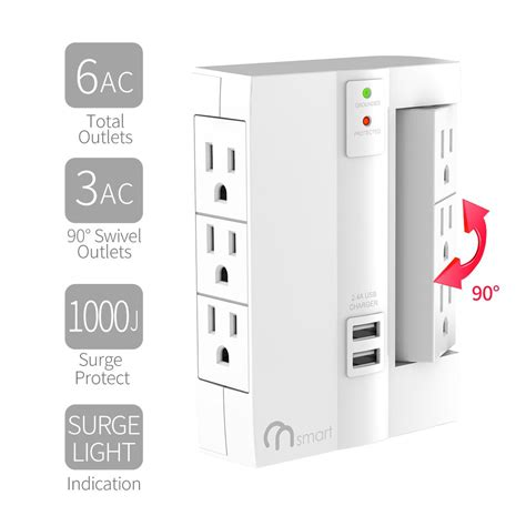 surge protector wall power outlet tap strip mount usb outlets protection desk mountable ports travel under office portable socket durable