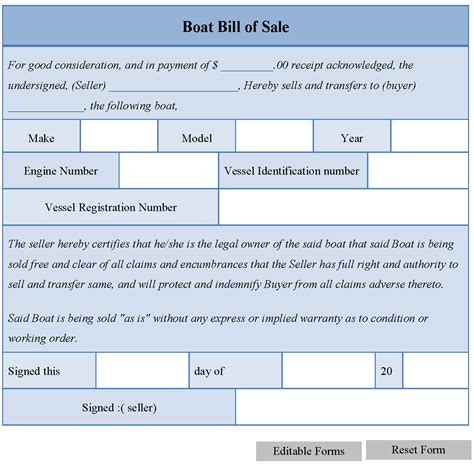 boat bill  sale form editable forms