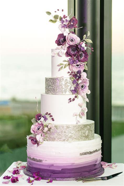 Violet And White Wedding Cake Purple Cake Purple