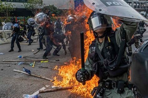 hong kong protest tear gas  violence return