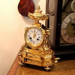 Small, Antique, French, Ormolu, Striking, Mantel, Clock, For, Sale