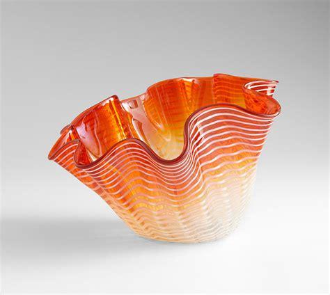 Orange Vases And Bowls by Large Orange Glass Bowl By Cyan Design