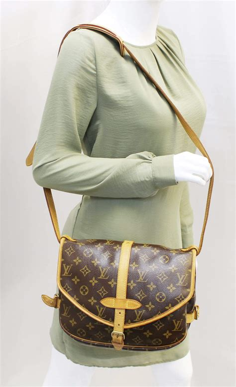 louis vuitton monogram canvas saumur  shoulder bag