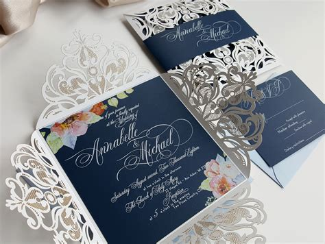 Elegant Wedding Invitation Floral Wedding Invites