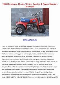 1985 Honda Atc 70 Atc 125 Atv Service Repair By