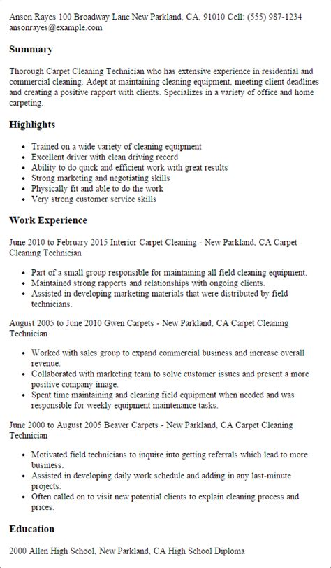 carpet cleaning technician resume templates
