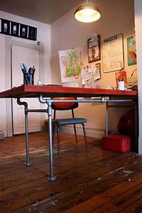 The, Arting, Starvist, Diy, Pipe, Desk, With, Salvaged, Door
