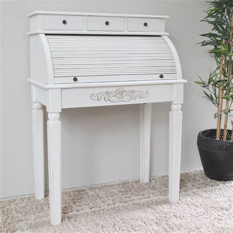Carved Wood Roll Top Desk In White 3920 Aw