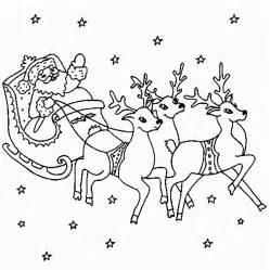 Santa with Reindeer Coloring Page