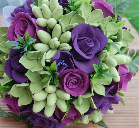 green with purple flower bouquet bridal purple and green wedding bouquets