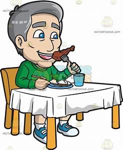 A Mature Man Eating Fried Chicken And Rice Cartoon Clipart