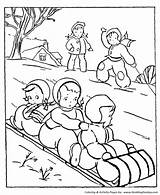 Coloring Winter Activities Sledding Seasons Activity Season Sheets Printable Honkingdonkey Toboggan sketch template