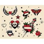 Tattoo Flash Vector Cartoon Icon Illustration Heart