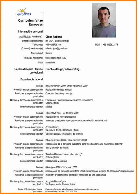 Cv Vitae by 7 Curriculum Vitae Ejemplo Espa 195 177 Ol Theorynpractice