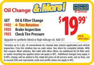 monro oil change filter coupon   tire rotation