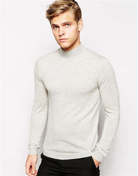 asos merino turtleneck sweater  grey  men lyst