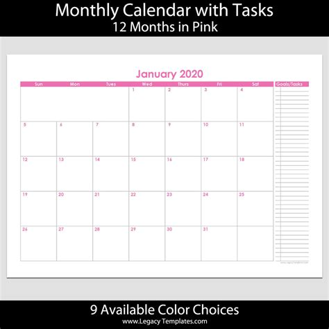 month landscape calendar tasks legacy templates