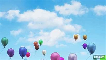 Balloons Flying Sky Screen Gifs Balloon Birthday
