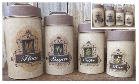 Rustic Kitchen Canisters by Food Safe Tin Canister Set Rustic Vintage Country
