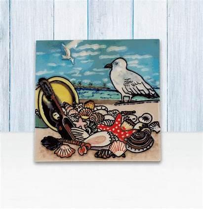 Trivet Tile Seagull Shells Trivets Kitchen Ceramic