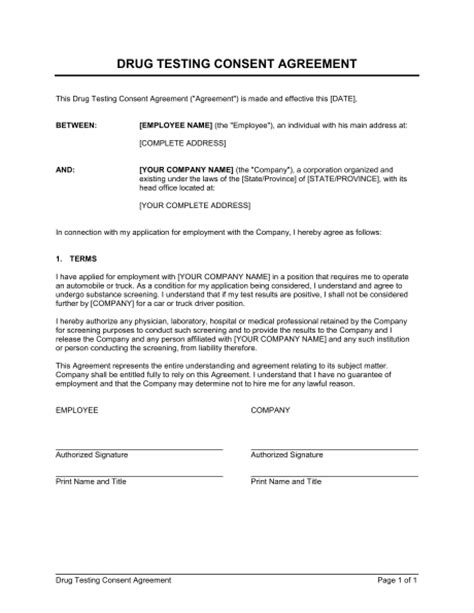 Tspeech Test Template by Drug Testing Consent Agreement Template Word Pdf By
