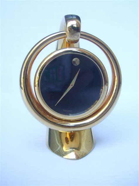 Movado Desk Clock by Movado Sleek Gilt Metal Diminutive Desk Clock At 1stdibs