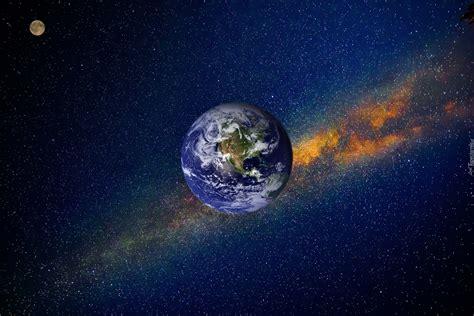 Planeta Ziemia w kosmosie na tle gwiazd