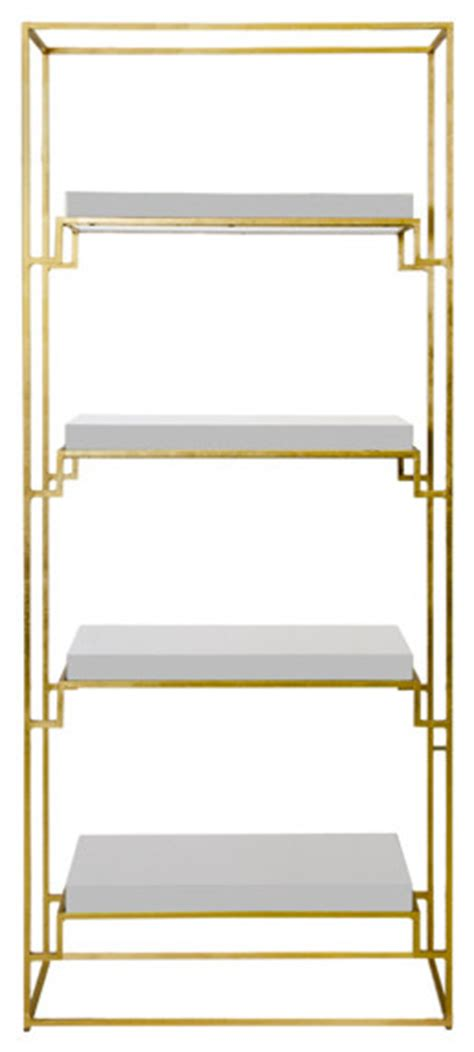 Worlds Away Etagere - worlds away gold leaf etagere with white lacquer shelves