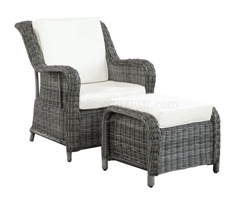 patio chair with ottoman du jour outdoor patio chair ottoman in gray white by modway