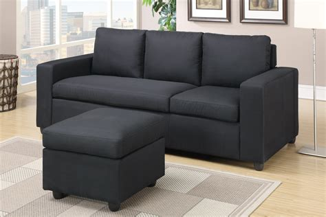 Black Fabric Loveseat by Poundex Akeneo F7490 Black Fabric Sectional Sofa
