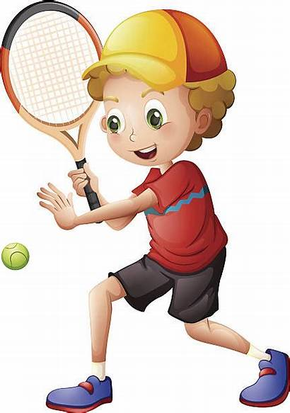 Tennis Playing Clipart Boy Clip Play Illustration