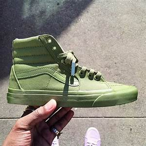 Olive Green Hi Top Vans with Gold lace from EastsideKicks on Etsy