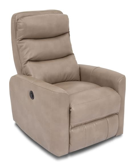 Raeburn Leather Recliner by Quinn Leather Look Fabric Power Recliner Grey The Brick