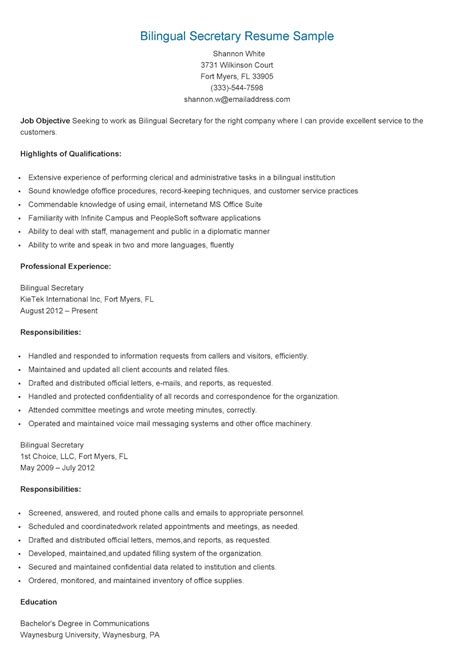 resume samples bilingual secretary resume sample